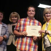 Mrs. Judy Smith, Mrs. Sharon Ball, Graduate Logan Hicks, and Dr. Connie Hodge