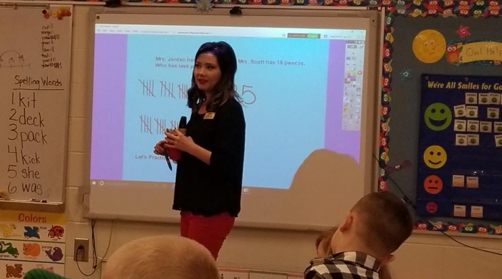 Emily Scott teaching at her student teaching placement!