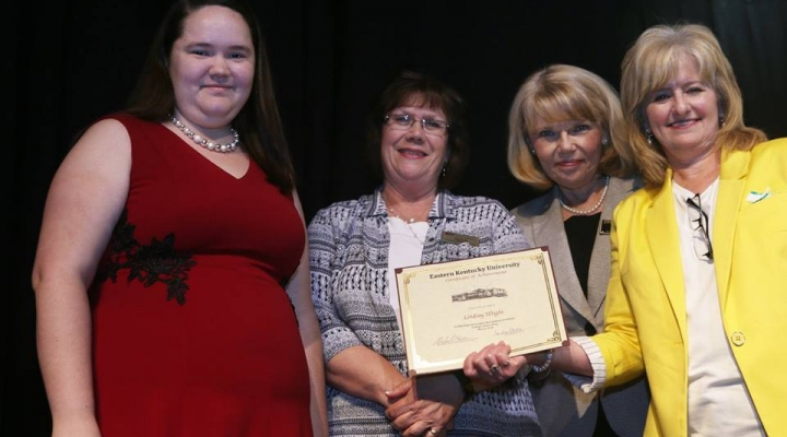 Graduate Lindsay Wright, Mrs. Judy Smith, Mrs. Sharon Ball, and Dr. Connie Hodge