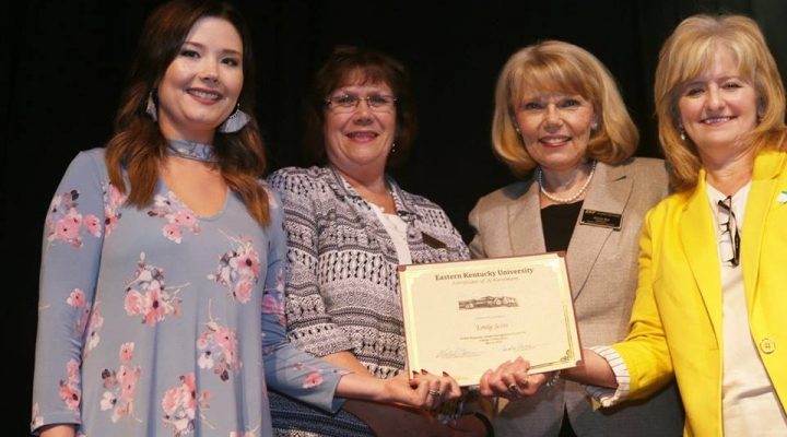 Graduate Emily Scott, Mrs. Judy Smith, Mrs. Sharon Ball, and Dr. Connie Hodge