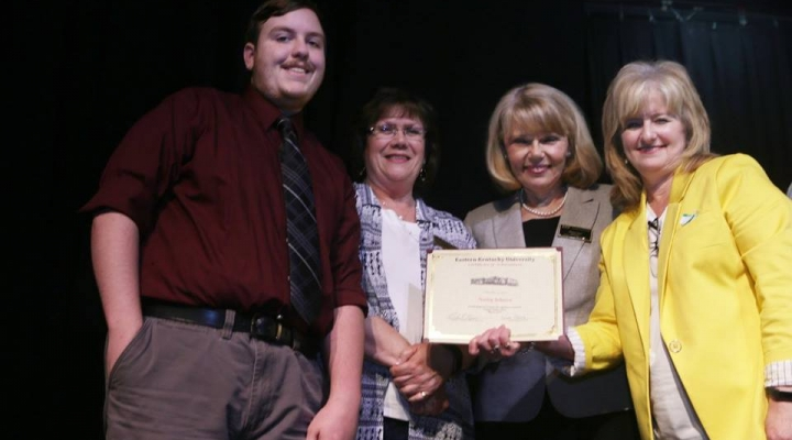 Graduate Harley Johnson, Mrs. Judy Smith, Mrs. Sharon Ball, and Dr. Connie Hodge