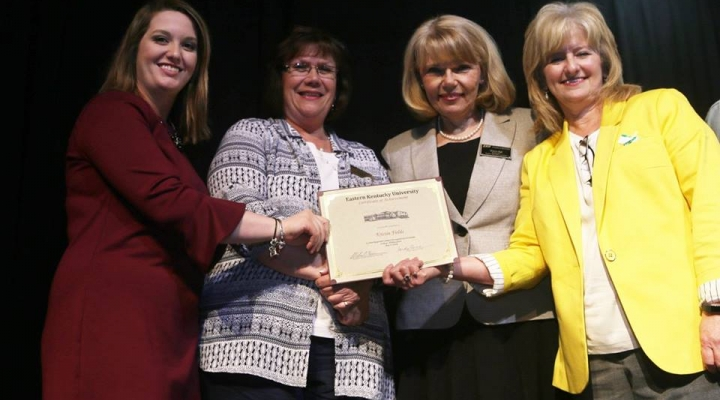 Graduate Kristin Fields, Mrs. Judy Smith, Mrs. Sharon Ball, and Dr. Connie Hodge